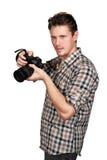 Fotograf med en kamera royaltyfria foton