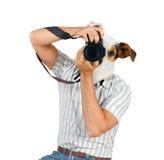 Fotograf med hunds huvud royaltyfri bild