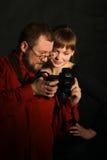 Fotograf mit Baumuster Stockbild