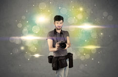 Fotograf mit Blinklichtern Lizenzfreies Stockfoto