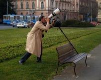 Fotograf mit dem 500mm Objektiv Lizenzfreie Stockfotos