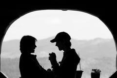 Fotograf mit einem vorbildlichen Schattenbild Stockbilder