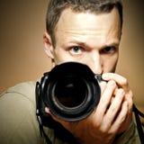Fotograf mit Kamera lizenzfreies stockfoto