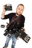 Fotograf mit vielen Kameras Stockfoto