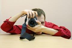 Fotograf på arbete Royaltyfria Foton