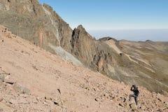 Fotograf på Mount Kenya, Kenya Arkivfoto