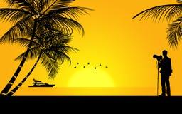Fotograf på stranden Royaltyfri Illustrationer