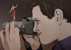 Fotograf patrzeje kamerę, oryginalny rysunek Zdjęcia Royalty Free