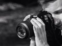Fotograf przy pracą Zdjęcia Stock