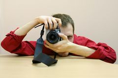 Fotograf przy pracą Zdjęcia Royalty Free