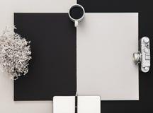 Fotograf ` s Schreibtisch in Schwarzweiss Flache Lage mit Kopienraum lizenzfreies stockfoto