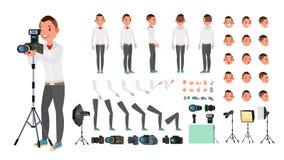 Fotograf samiec wektor Animowany mężczyzna tworzenia set Pełna długość, przód, strona, Tylny widok Odosobniona Płaska kreskówka Zdjęcia Royalty Free