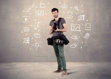 Fotograf som lär att använda kameran Royaltyfri Foto