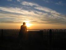 Fotograf am Sonnenuntergang stockfoto
