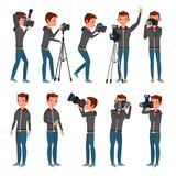 Fotograf Vector Moderne Kamera aufwerfung Nehmende Fotos in voller Länge Fotoreporter-Design Flache Karikaturillustration stock abbildung