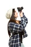 Fotograf zielt aufwärts darauf ab, ein Foto zu machen Lizenzfreies Stockbild