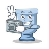 Fotografa charakteru kreskówki toaletowy styl ilustracji