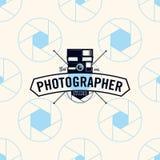 Fotografa logo na bezszwowej deseniowej kamery żaluzi, wektorowa ilustracja Zdjęcia Stock