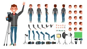 Fotografa mężczyzna wektor zabrać zdjęcia Animowany charakter - set Pełna długość Akcesoria, pozy, twarzy emocje Obraz Royalty Free