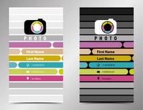 Fotografaffärskort i en plan stil Arkivfoton