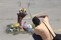 Fotografare rifiuti urbani Immagini Stock