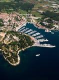 Fotografe do ar de Vrsar em Istria, Croácia Imagem de Stock