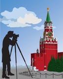 Fotografen för Moskva Kremlin.The. Vektorillustr Royaltyfri Illustrationer