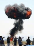 Fotografen und eine Explosion Stockbild