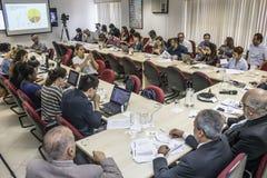 Fotografer och journalister p? presskonferensen i den Sao Paulo staden, Brasilien royaltyfri foto
