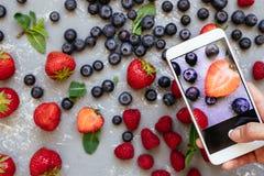 Fotografera mat Händer som tar bilden av organiska nya skördade bär med smartphonen Royaltyfri Bild