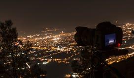 Fotografera Murcia på natten Royaltyfri Bild