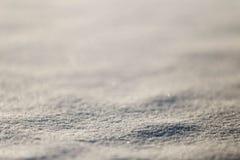 Fotograferad närbild av vit snö Arkivfoto