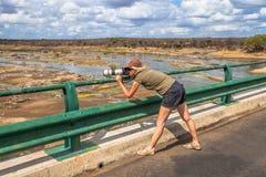 Fotograffrau, die eine Landschaft schießt Lizenzfreies Stockbild