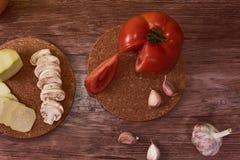 Fotografi av medelhavs- mat, typisk Andalusian gastronomi arkivbilder