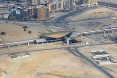 Fotografi för flyg- sikt för Dubai Al Jadaf Metro station royaltyfria bilder