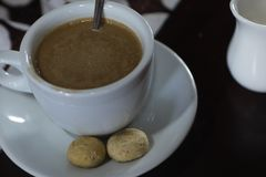 Fotografi för kaffekafésocker royaltyfria bilder