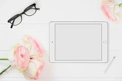 Fotografi för materiel för minnestavlamodell blom- utformat Royaltyfri Fotografi