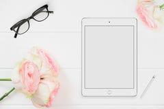 Fotografi för materiel för minnestavlamodell blom- utformat Fotografering för Bildbyråer