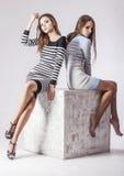Fotografi för studio för kvinnor för modeller för mode två härligt arkivfoton