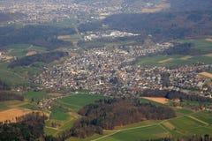 Fotografi Seon Canton Aargau Switzerland för flyg- sikt Royaltyfri Fotografi