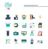 Fotografi, utrustning, stolpe-produktion, printing och mer som är plana royaltyfri illustrationer