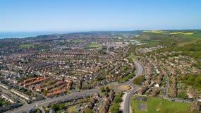Fotografia aérea da cidade de Folkestone, Kent, Inglaterra foto de stock