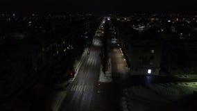 Fotografia aérea da cidade da noite Fotografia da vila do inverno em Rússia filme