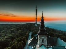 Fotografia aérea da torre do Polônia do parque nacional de Swietokrzyski/tevê fotografia de stock royalty free