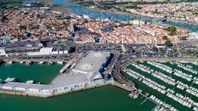 Fotografia aérea de Saint Gilles Croix de Vie no Vendee foto de stock