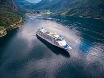 Fotografia aérea do fiorde de Geiranger, Noruega Fotos de Stock