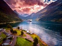 Fotografia aérea do fiorde de Geiranger, Noruega Imagens de Stock Royalty Free