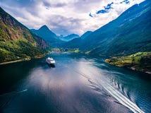 Fotografia aérea do fiorde de Geiranger, Noruega Imagem de Stock Royalty Free