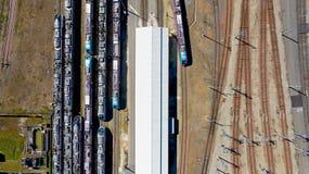 Fotografia aérea dos trens na estação de Nantes Blottereau fotos de stock royalty free