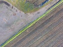 Fotografia aerea astratta di una strada biforcata con i campi e l'idromele Immagine Stock Libera da Diritti
